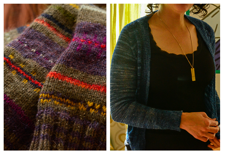 Judith's legwarmers/ Anna's featherweight sweater