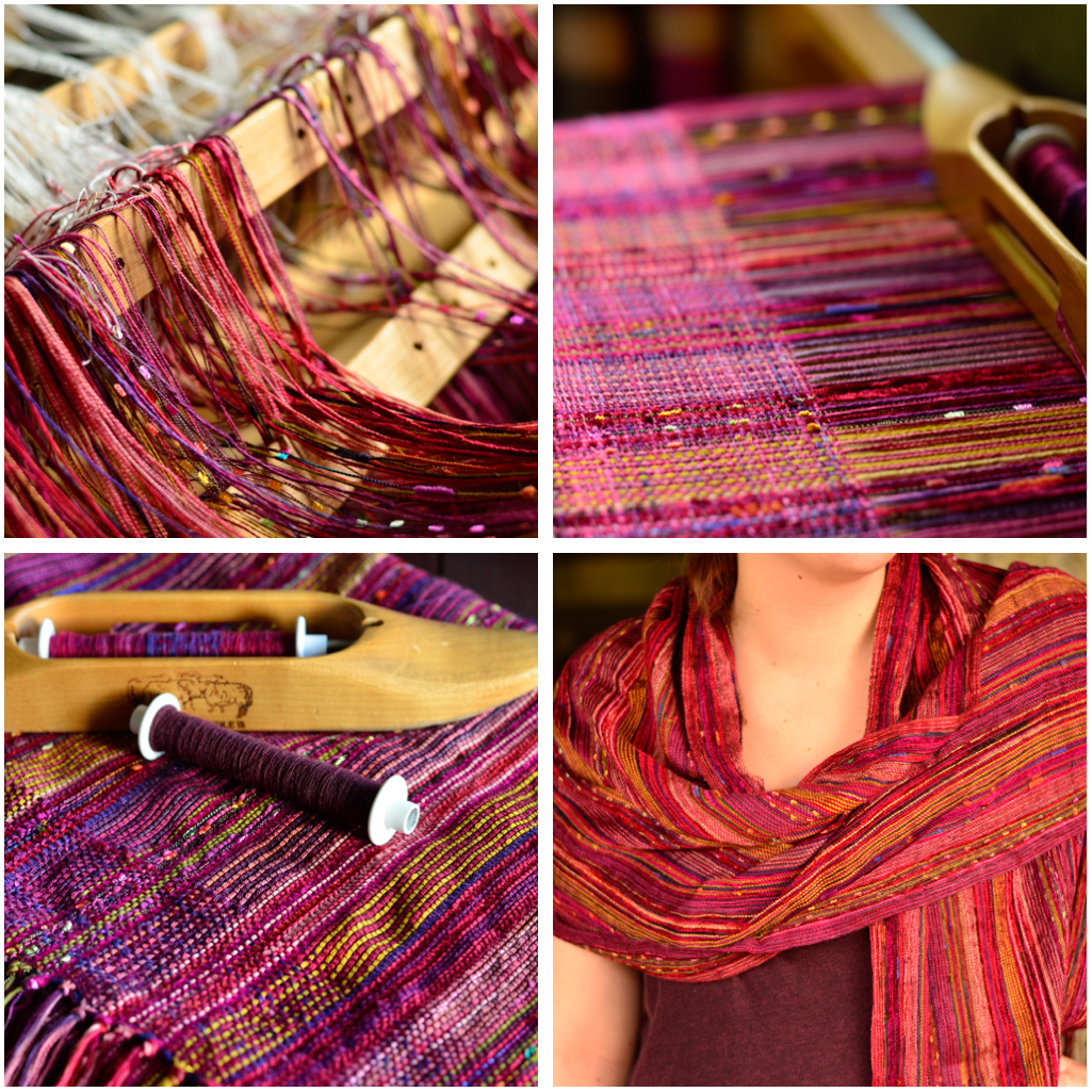 fushia collapse weave shawl