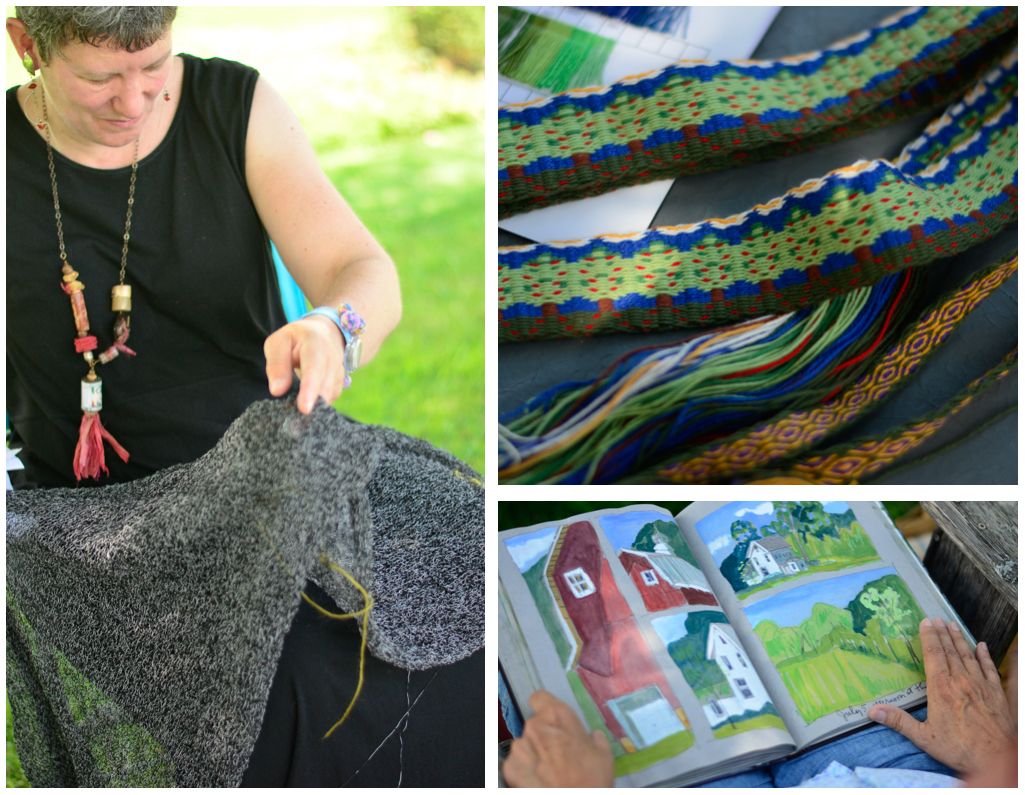 Nan and her infinite scarf in progress/ Barb B's apple tree card weaving/ Judith's journal