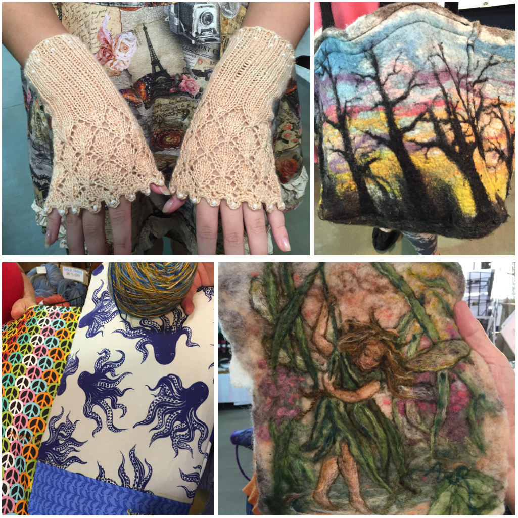 Knitted wristlets by Caitlin Bongers of the Netherlands and some lovely felted pieces by Anna Repke are some of the talented fibers artists that visited my booth. Also project bags by Sweet T Knits