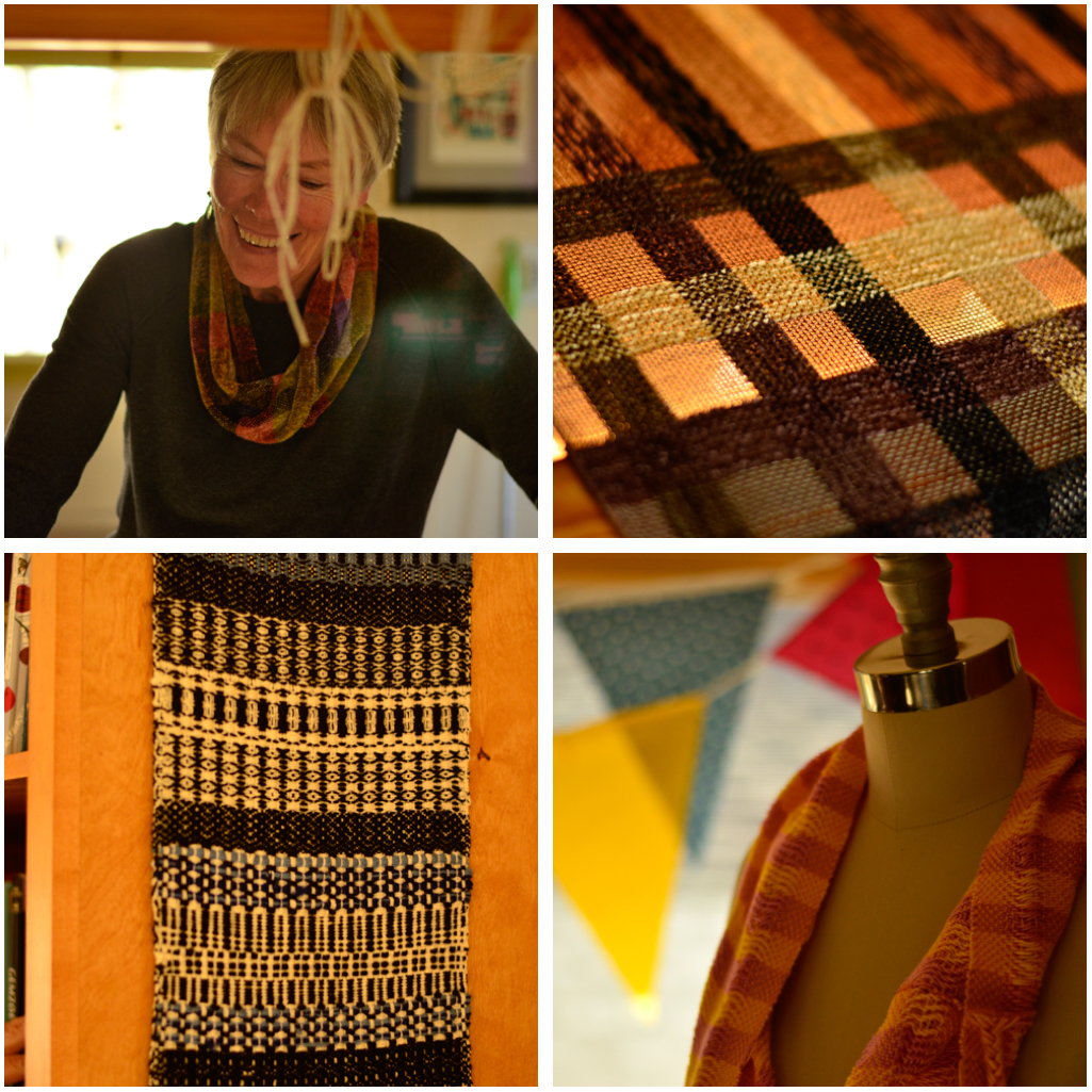 Kathy and some of her weavings