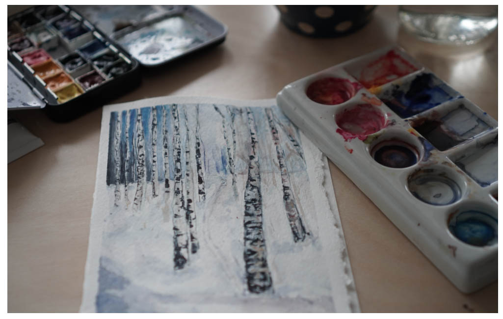 winter birches card