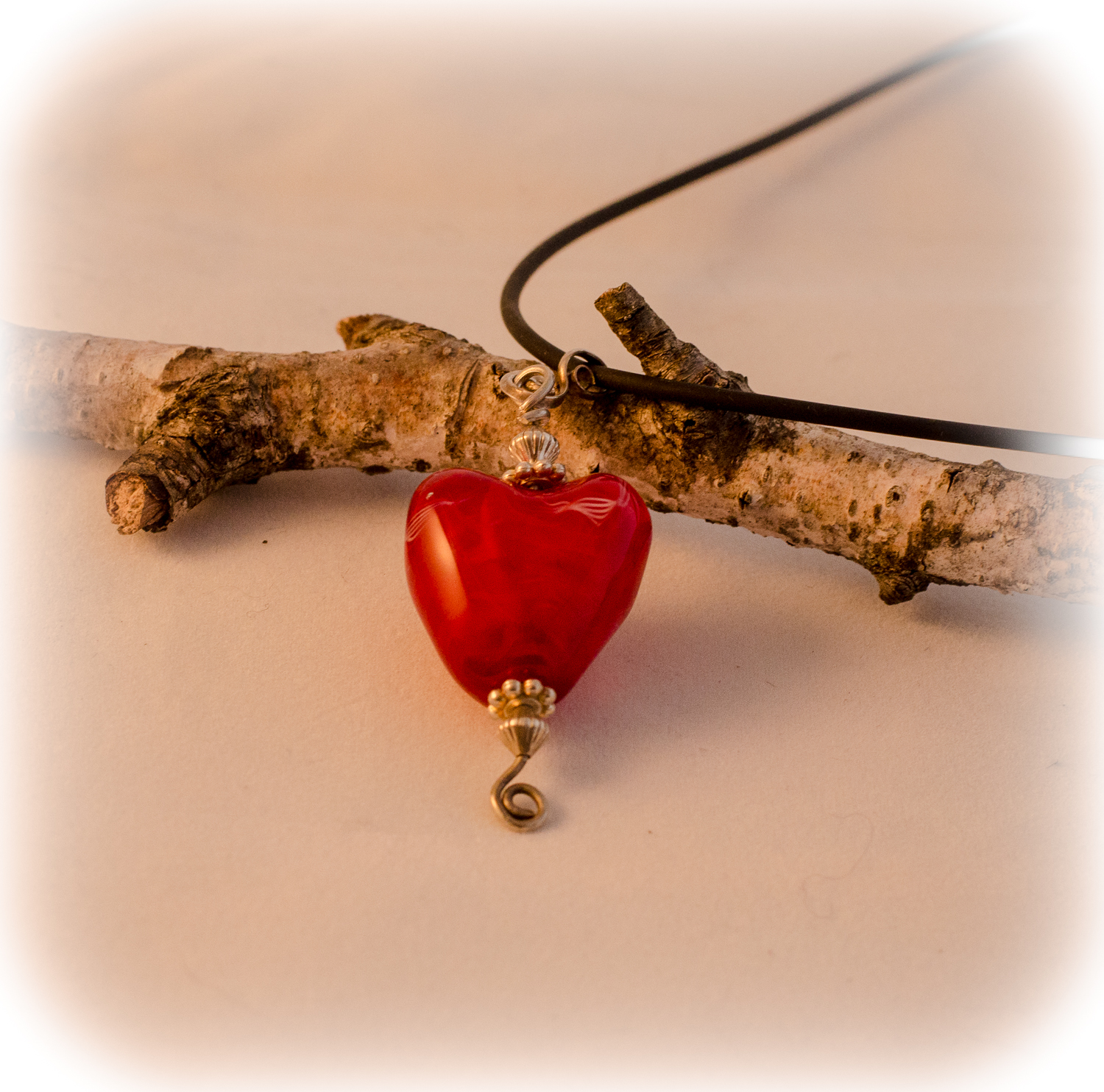 red torchworked heart