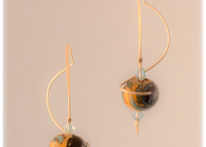 torchworked glass and sterling earrings